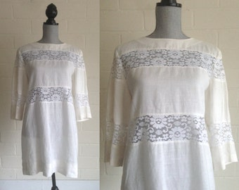 FLASH SALE! Vintage 60s Oleg Cassini linen wedding dress / short mini floral lace hippie white wedding dress