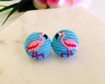 SALE Flamingo earrings, 19mm stud earrings, fabric button earrings, gifts for her.