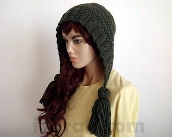 Earflap hat womens, Crochet tassels hat, Crochet earflap hat, Woman Wool hat, Winter hat womens, Chunky hat, Hand crochet hat, Pom pom hat