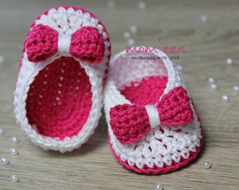 Baby shoes / baby moccasins Lina with a bow in pink white 0-3 months