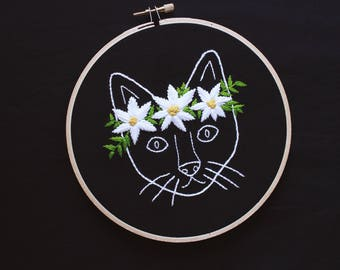 """cat daisy floral crown hand embroidery hoop art • floral crown cat embroidery 6"""" hoop art • organic cotton"""