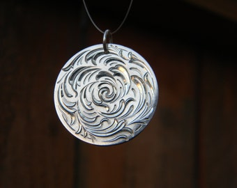 Hand Engraved Sterling Silver Bright Cut Spiral Pendant