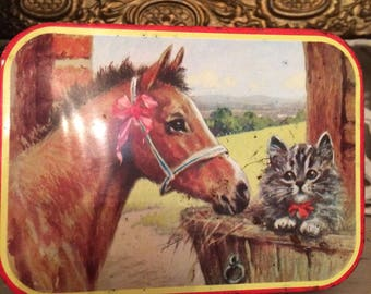 Vintage Riley's Toffee Tin with Horse and Cat