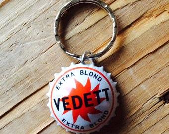 Vedett Regular/IPA Belgium beer bottle cap key chain - Handmade by Charlie