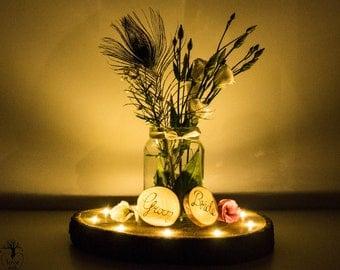Rustic woodslice LED wedding centrepiece table decoration, personalised rustic wedding table decoration, natural  oak lighting centrepiece