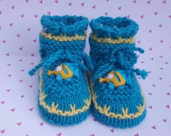 Fish baby booties, fish , turquoise Gifts for her, photo session kids shoes,gift for new nephew kids booties, gift for new niece boots,