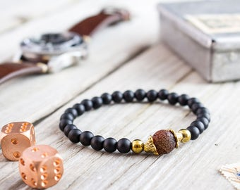 6mm - Matte black onyx beaded stretchy bracelet with gold beads and a crackle dream agate, bead bracelet, mens bracelet, womens bracelet