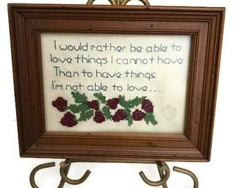 Vintage Crochet Quote picture Vintage wall decoration 80s with handmade wooden photo frame Home Decor