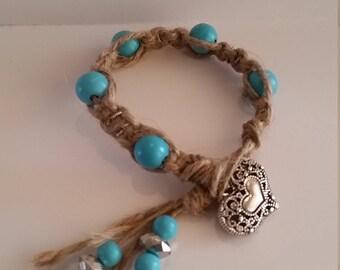 Blue Heart Hemp Bracelet