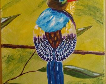 Tropical Bird 12 X 16 acrylic on canvas, hand-painted, unframed