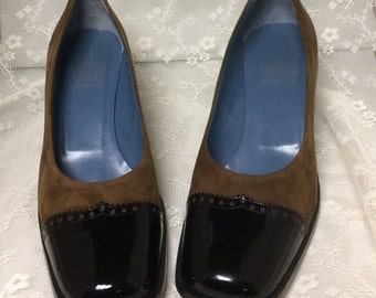 Vintage Joan and David Too Grosvenor Pumps, Brown Suede and Black Patent, Sz. 8.5 M, Made in Italy