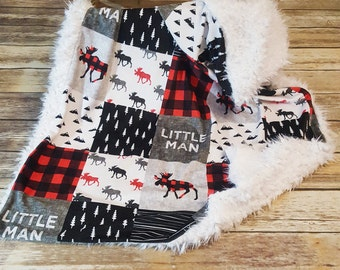 Minky Baby Boy Blanket- Buffalo Plaid Little Man Blanket- Faux Patchwork Minky- Woodland Blanket