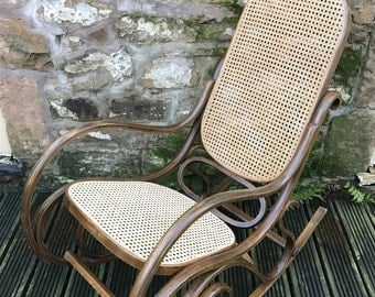 SOLD Vintage bentwood rocking chair   Thonet style chair   cane seat   as featured in Elle decoration magazine
