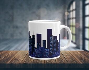 Night City Skyline Coffee Mug, City Mug, Ceramic Mug, White Coffee Mug, Unique Coffee Mug, Glossy Coffee Mug, Coffee Cup, 11 oz mug