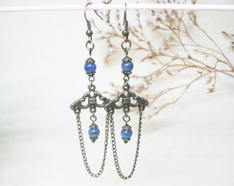 Tanzanite Earrings-Chandelier Earrings-Vintage Earrings-Dangle Beaded Earrings-Gemstone Earrings-Romantic Boho Earrings-FREE SHIPPING