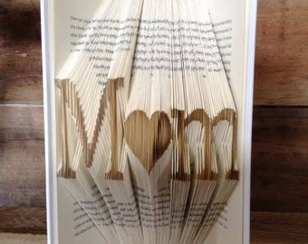 BOGO! M<3m Folded Book Art, Mothers Day Gift, Gifts For Mom,