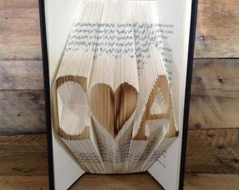 Initial Heart initial Folded Book Art