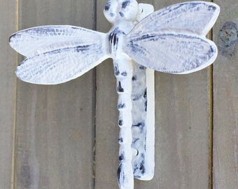 Dragonfly Door Knocker Shabby Chic Off White Distressed Cast Iron