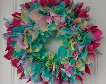 Baby Shower Wreath Turquoise / Yellow/ Pink