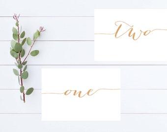 Printable Table Numbers/Rose Gold Table Numbers/ 1-20/ DIY Wedding/ Formal Script Table Numbers