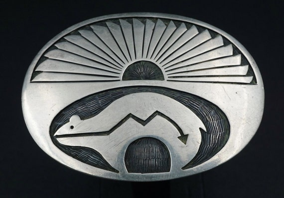 Sterling Silver Bear Overlay Hopi Handcrafted Belt Buckle M332