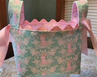 Royal Bunny  Basket,  Baby Girl Nursery Basket, Diaper Basket, Bunny Nursery Basket