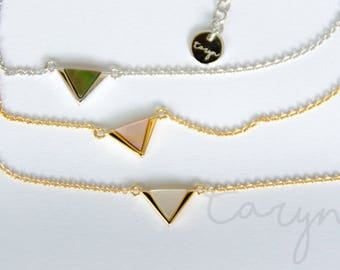Origami triangle necklace