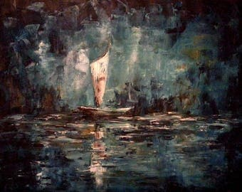 Original Oil Painting - A Boat - Sea Landscape - Palette Knife Textured Canvas - Wooden Framed Ready to Hang