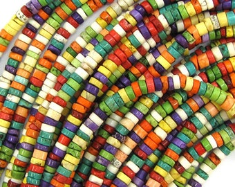 """4mm multicolor turquoise heishi beads 16"""" strand 17333"""