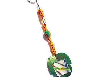 Rainbow Dragonfly Glass Leaf - Keychain