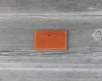 Leather Stacked Card Case // Caramel