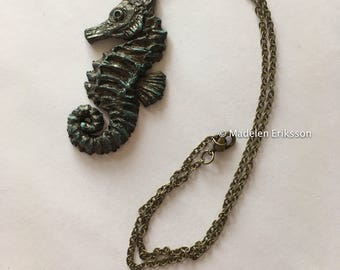 Seahorse polymer clay necklace