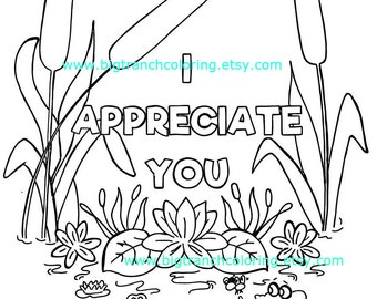 I Appreciate You Adult Coloring Page - Colouring - Cattails - Coloring for Grown Ups - Hope - Hand Drawn - Printable Digital Download