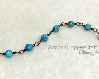 Kingman Turquoise Bracelet, Copper Wire Jewelry, Ready To Ship, Mother's Day Gifts, Mom, Most Sold Item, ArizonaCopperCraft, FREE SHIPPING