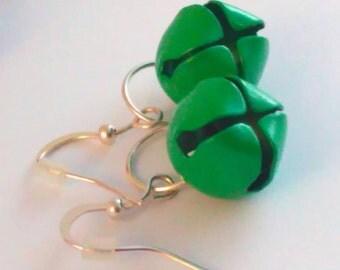 Handmade, bell earrings, GREEN earrings, bell drop earrings, jingle bell, bells, handmade earrings, handmade bell earrings, drop earrings