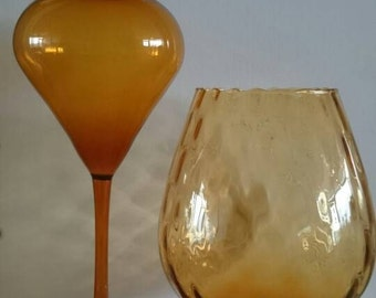 Amber, yellow ocher or topaz colour, very thin, glass vase 26 cm from probably DDR East Germany