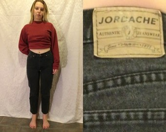 "1980s 90s JORDACHE Black Denim High Waisted Grunge Mom Jeans Women's Size S - 27""/28"" Waist"