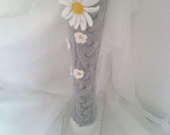 Camomile socks,Hand knit knee socks.Flover knee socks.Handknitted socks,Flower socks,woman leg warmers,wool socks