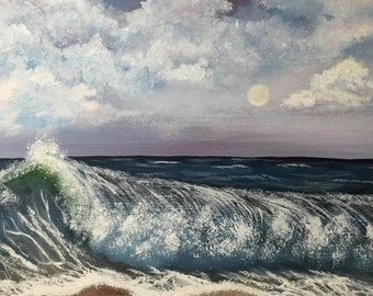 Original painting, Realism, Wall art, Fine art, Wall decor, Wave Painting, Living Room Decor, Home Decor,  Acrylic Painting, Ocean Painting