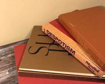 Large Burnt Orange, Gold, Coffee Table Books, LargeBooks, Books, Large Books, Home Decor, Colors