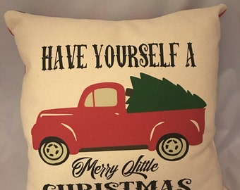 Truck with christmas tree pillow, christmas pillow, christmas decor, christmas gift, christmas throw pillow