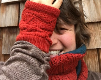 Upcycled Wrist Warmers and Scarf, Recycled Infinity Scarf, Orange Leaf Knit Accessories