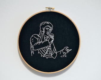 Fat Elvis Embroidery // Hand Embroidered Elvis Presley