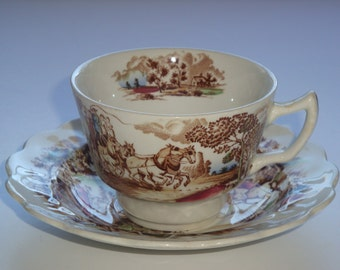Ridgway Staffordshire England 'COACHING DAYS' Tea Cup and Saucer