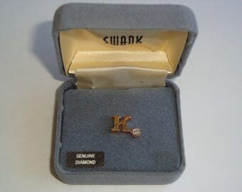Vintage Gold Filled SWANK Boxed Tie Pin / Tack With Genuine Diamond