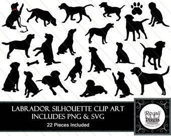 Labrador Silhouette Clip Art - 22 Piece - Pet Dog Silhouette - 7 inches - Instant Download - Printable - SVG & PNG #76