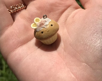 Kawaii Polymer clay Banana and Cinnamon cupcake charm