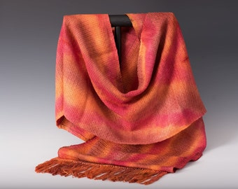 V-shawl handwoven from natural fibers.
