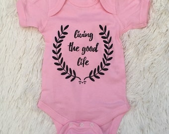 Living the Good Life Baby Girl Pink onesie, Boho