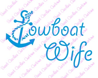 Towboat Wife Vinyl Car Decal~towboat husband, proud, glitter